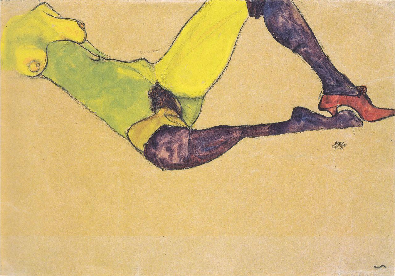 Egon Schiele - Liegender weiblicher Akttorso - 1910