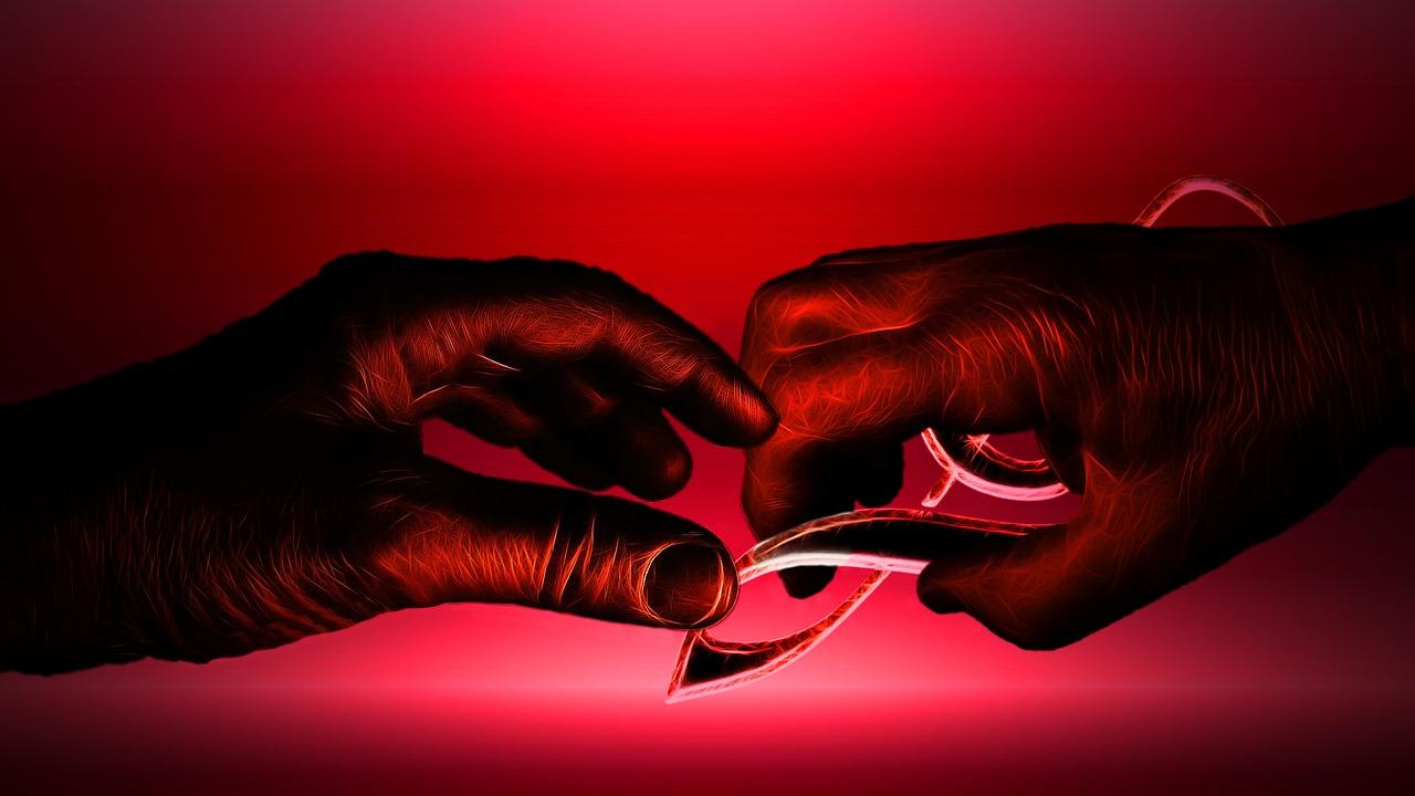 muzieksleutel handen rood