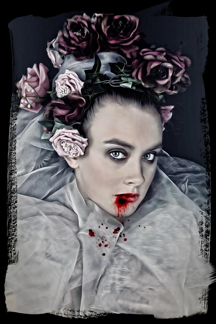 vampier vrouw rozen bloed